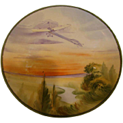 "Japanese Nippon 8"" Wall Hanging Plate Plaque w Hand Painted Glider Flying in the Sky – Not an Airplane c 1910"
