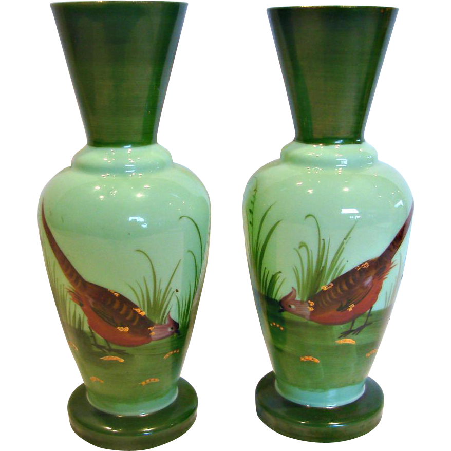 "French Pair Green Opaline 8.75"" Art Glass Vases Hand Painted Game Bird Scenes c 1880"