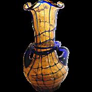 "Bohemian Czech 8""Amber Art Glass Vase w Blue Threads Handles & Windings Overshot Glue Chip c 1930"