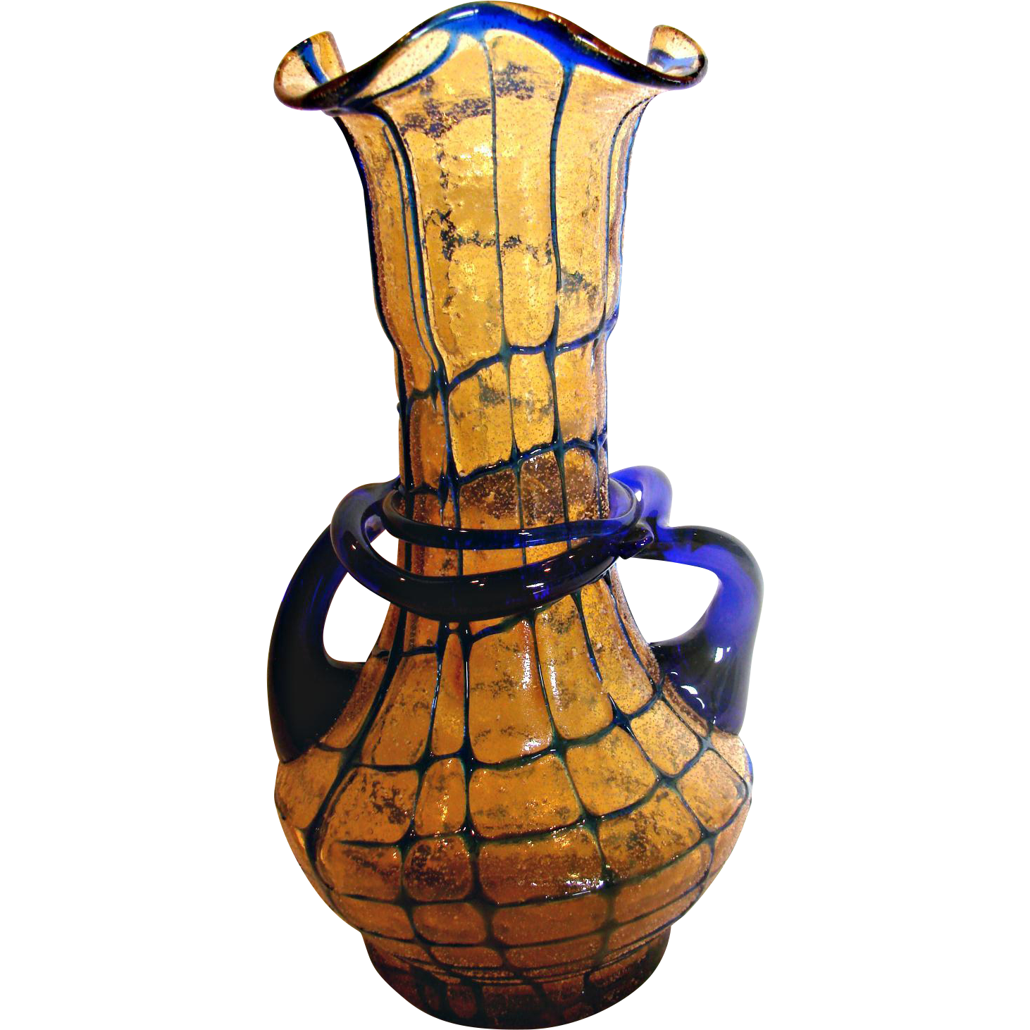 "Bohemian Czech 8""Amber Art Glass Vase w Blue Threads Handles & Windings Overshot Glue Chip c 1930"