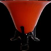 "Bohemian Czech 8.5 x 9"" Orange Tango Art Glass Vase w Black Rocket Ship Feet Signed c 1930"