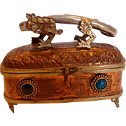Chinese Hammered Footed Copper Box w Metal Dragon on Top Blue Glass Stones c 1900