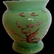 Bohemian Czech Kralik Green Art Glass Vase Enameled Geese Birds Signed c 1930