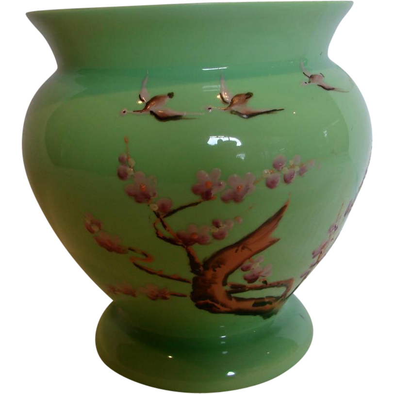 Bohemian Czech Kralik Green Art Glass Vase Enameled Geese Birds Signed c 1930