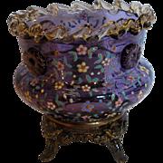 Bohemian Moser Purple Amethyst Art Glass Vase Amber Rigaree Applied Flower Head Prunts Enameled Flowers Metal Base w Gargoyle Heads c 1880