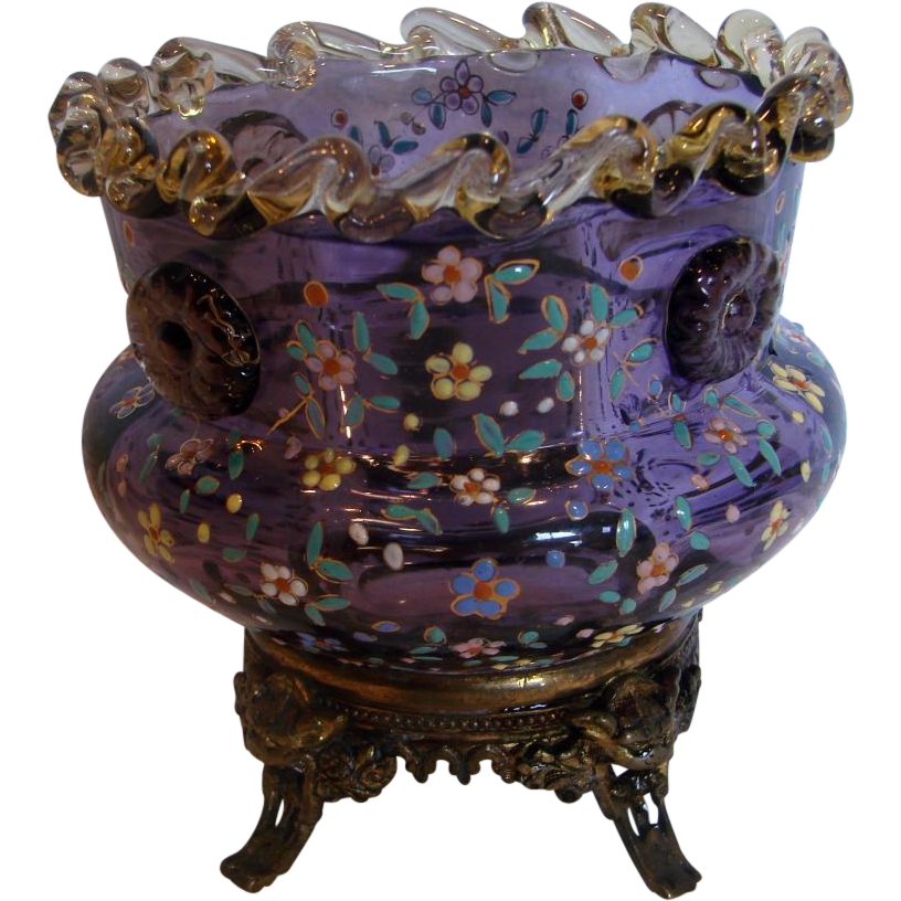 Bohemian Moser Purple Amethyst Art Glass Vase Amber Rigaree Applied Flower Head Prunts Enameled Flowers Metal Base w Gargoyle Heads c 1880
