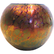 Bohemian Czech Oil Spot (Oilspot) Art Glass Vase Iridescent Green Blue Purple Cased Black c 1900