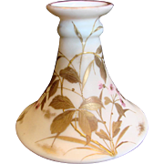 English Webb White Opaline Art Glass Vase Hand Painted Enameled Gold Leaves Satin Matte Finish c 1875