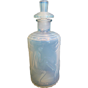 French Maurius Sabino Opalescent Art Glass Scent Perfume Bottle Nude Women Signed c 1925 - 1930