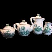 Denmark Royal Copenhagen Demitasse Teapot, Chocolate Pot, Sugar, Creamer Delicate Bud Finials Green Building Landscapes c 1889 - 1890