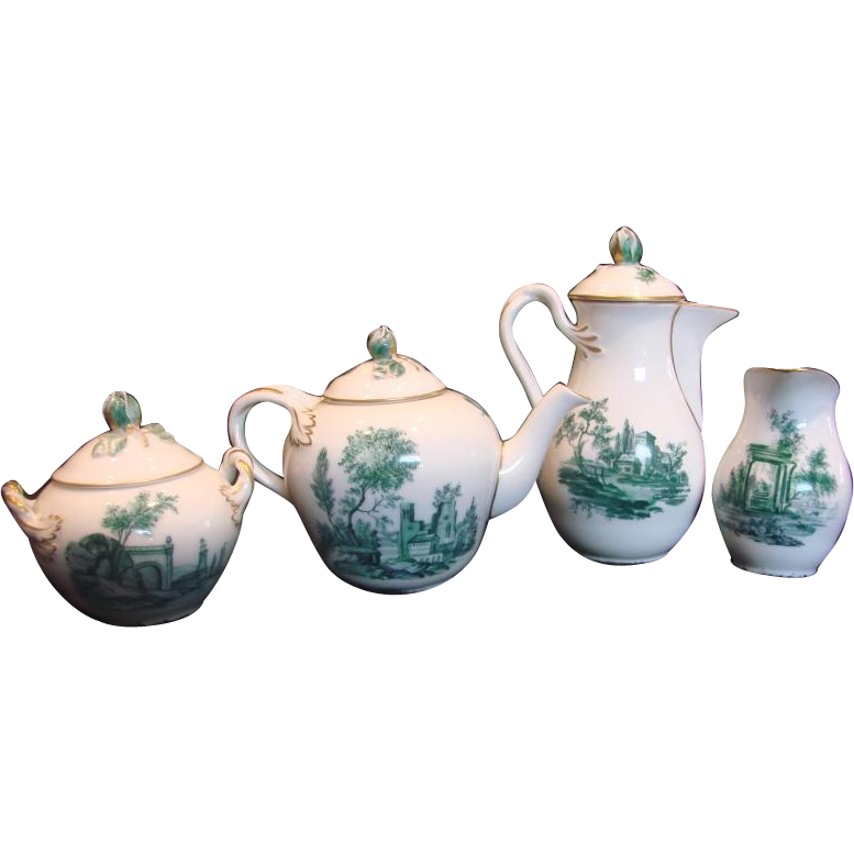 Denmark Royal Copenhagen Demitasse Teapot, Chocolate Pot, Sugar, Creamer Delicate Bud Finials Green Building Landscapes c 1889 - 1890