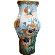 "Bohemian Czech Turn-Teplitz Marked Amphora 14 ½"" Hand Painted Vase Huge Poppies Gold Detail c 1892 - 1905"