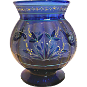"English 8"" Cobalt Blue Paneled Art Glass Vase Intricate Design Flying Birds Eating Seeds Gorgeous! c 1880"