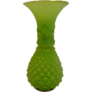 French Baccarat Chrysoprase Green Opaline Art Glass Vase Pineapple Form c 1845 – 1865