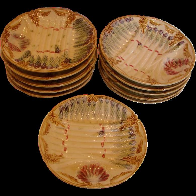 French Faiencerie Onnaing Set 11 Majolica Asparagus Plates c 1870 - 1900