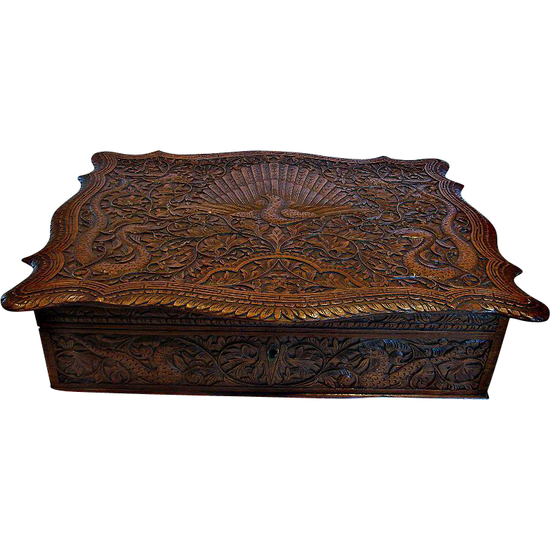 Chinese Canton Hand Carved Wood Calligraphy Letter Writing Box Eastern Dragons Peacock Bird c 1780 - 1810