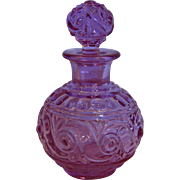 French Baccarat Crystal Art Glass Scent Perfume Bottle Pink-to-Lavender-to-Purple Signed c After 1860