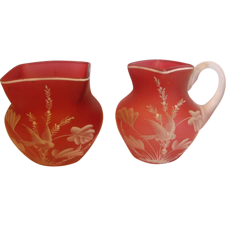 English Satin Cranberry Art Glass Sugar & Cream Pitcher w White Enameled Bird & Florals c 1890