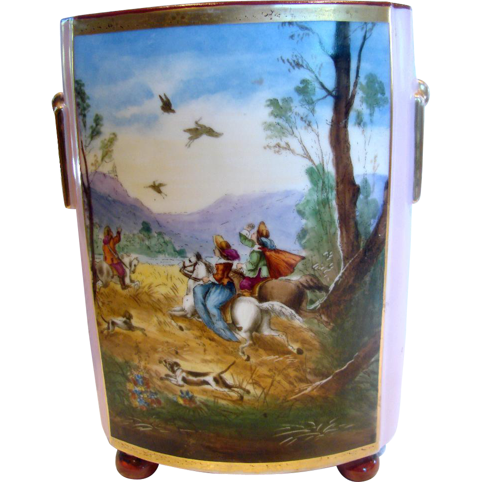 "French Old Paris Large 12"" Footed Cache Pot Vase Hand Painted Scene Hunting Scene Horses Dogs Birds Pink Ground c 1860"