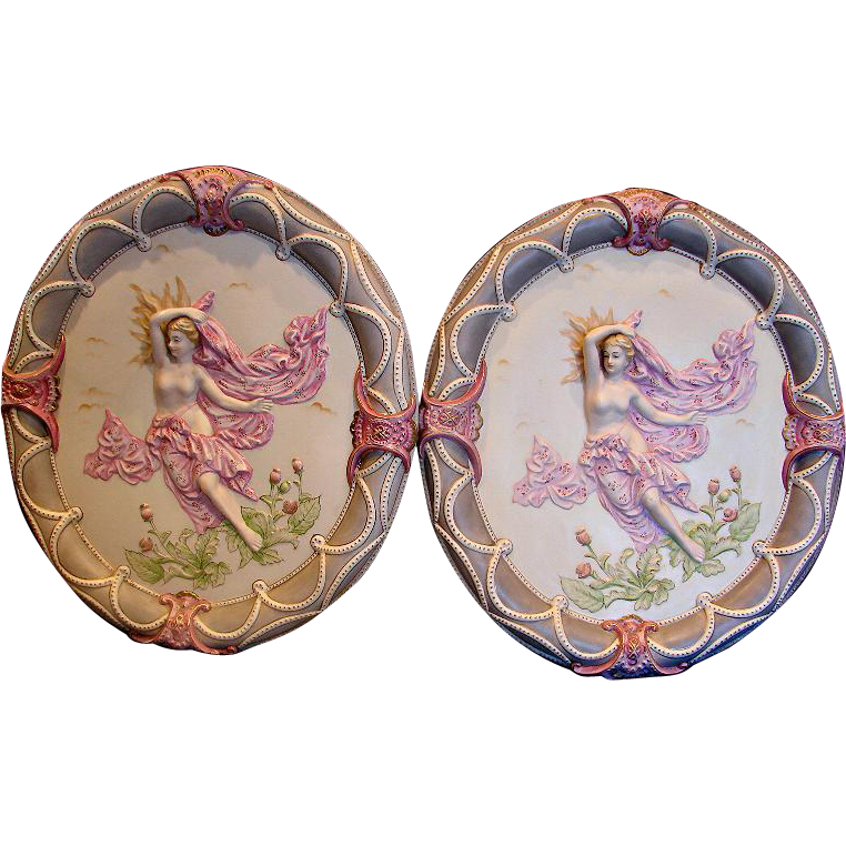 "French Pair Large 17 ¾"" Porcelain Oval Hanging Plaques w Dimensional Bare Breasted Nude Females c 1930"