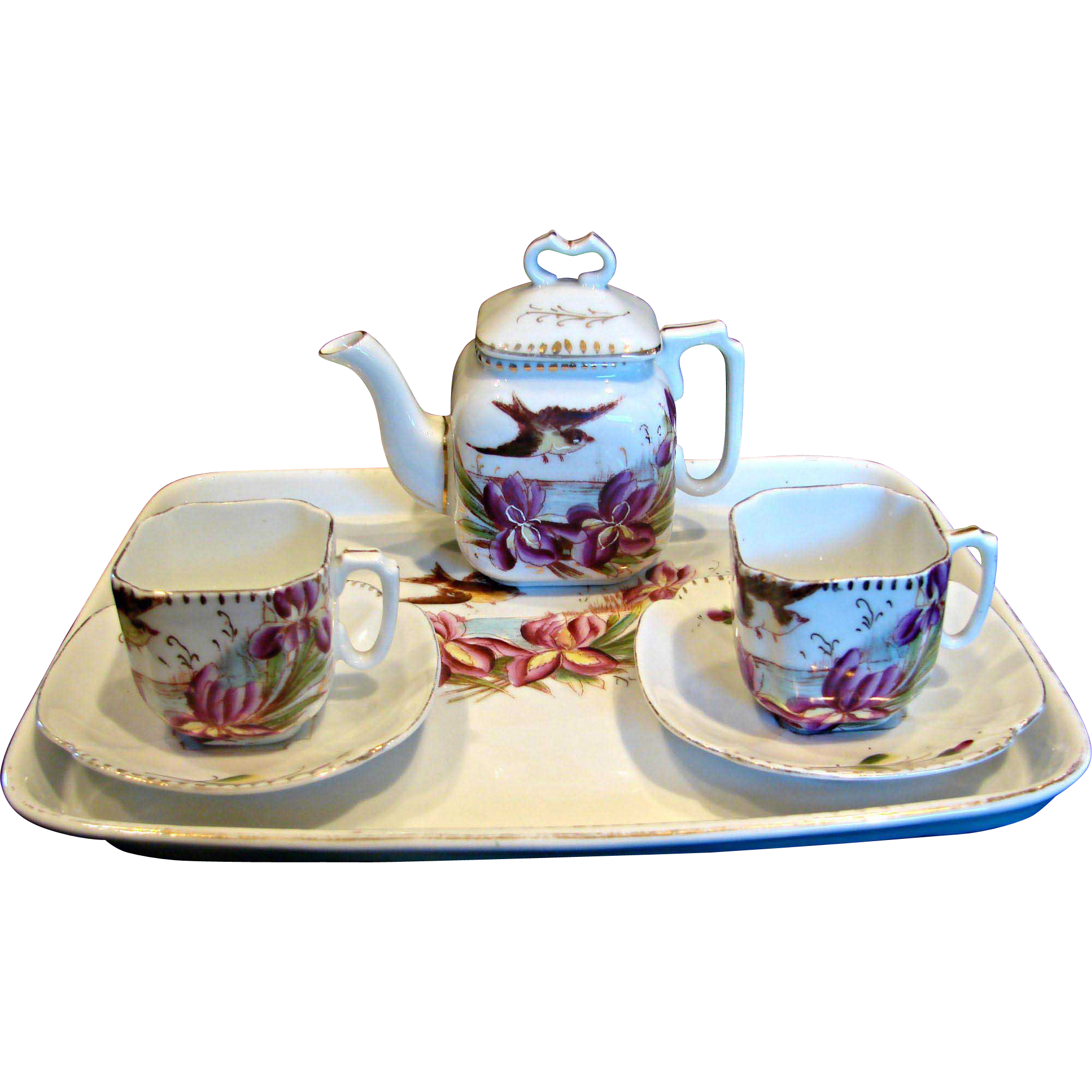 German Tiny Tete-a-Tete Demitasse Teapot Tea Set Flying Birds c 1892