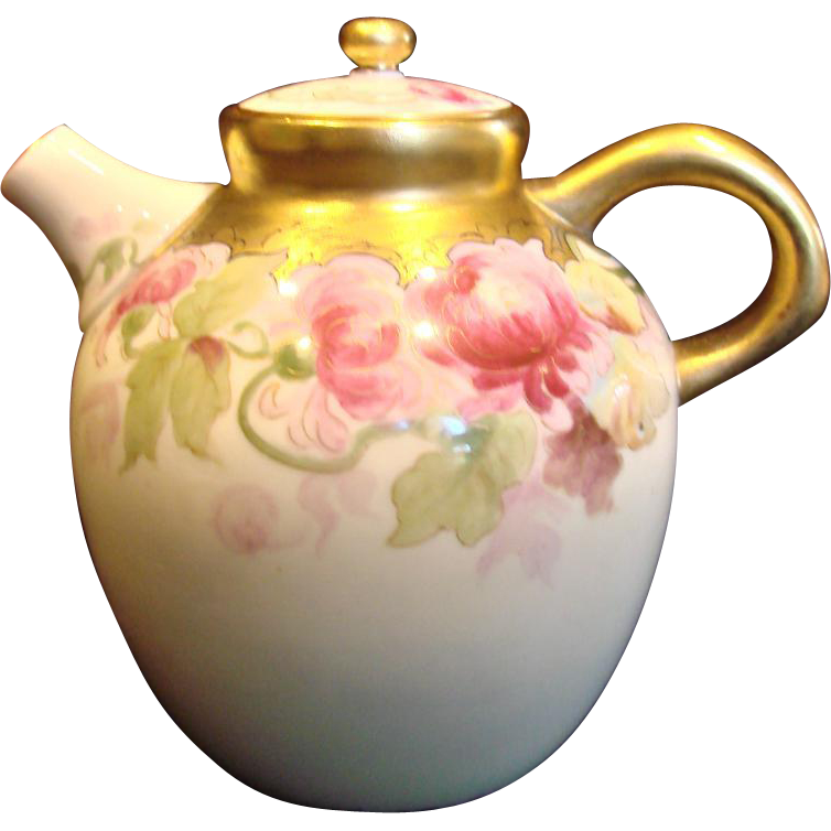 American Belleek Willets Hand Painted Small Teapot Pink Mums c 1879 - 1912
