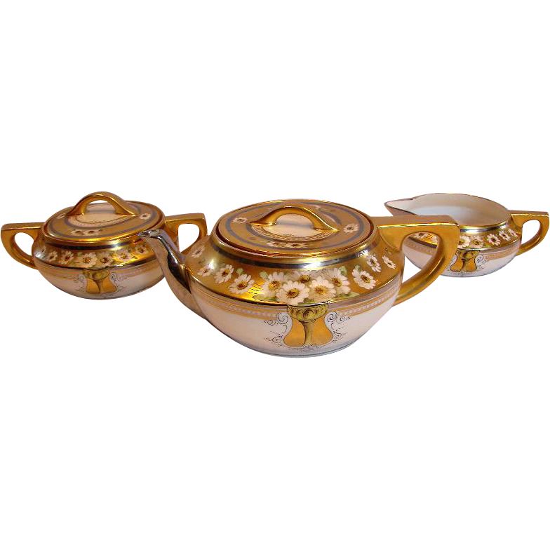 French Limoges Tea Set Teapot Sugar & Creamer Hand Painted Daisies Stouffer c 1906 -1914