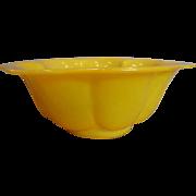 Chinese Peking Yellow Lobed Art Glass Bowl c 1890