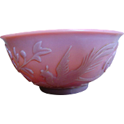 Chinese Peking Pink Carved Cameo Art Glass Bowl Birds & Flowers c 1890-1910