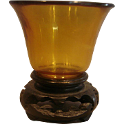 Chinese Peking Amber Art Glass Miniature c 1890 - 1910