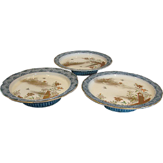 Japanese Imari Set of 3 Pedestal Comport Plates Blue & White Hand Painted Flying Insects Garden Scenes c 1880