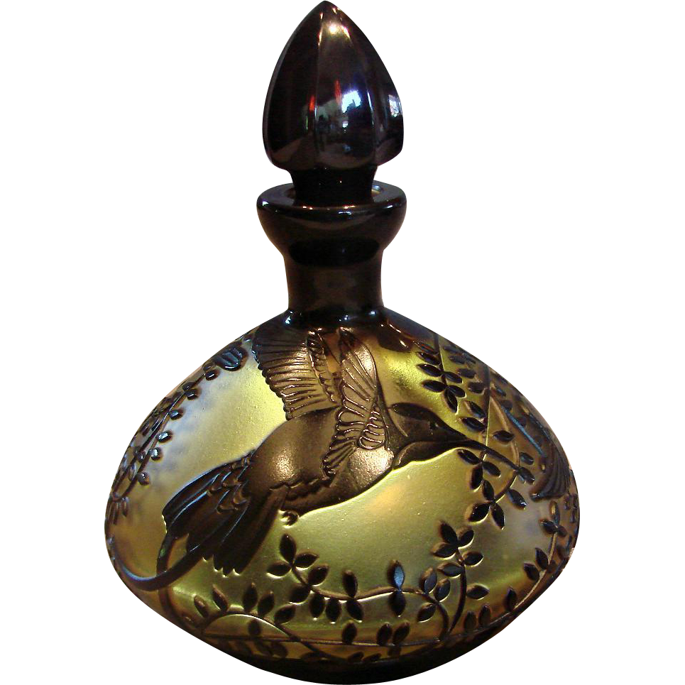 Bohemian Czech Cameo Amber Art Glass Perfume Bottle 3 Carved Hummingbirds Birds Signed c After 1930