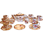 English Pointon Tea Set Beautiful Flowers Teapot Sugar Creamer 9 Cups Saucers c 1891 - 1916