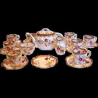 English Pointon Tea Set Beautiful Flowers Teapot Sugar Creamer 9 Cups Saucers c 1891 - 1916