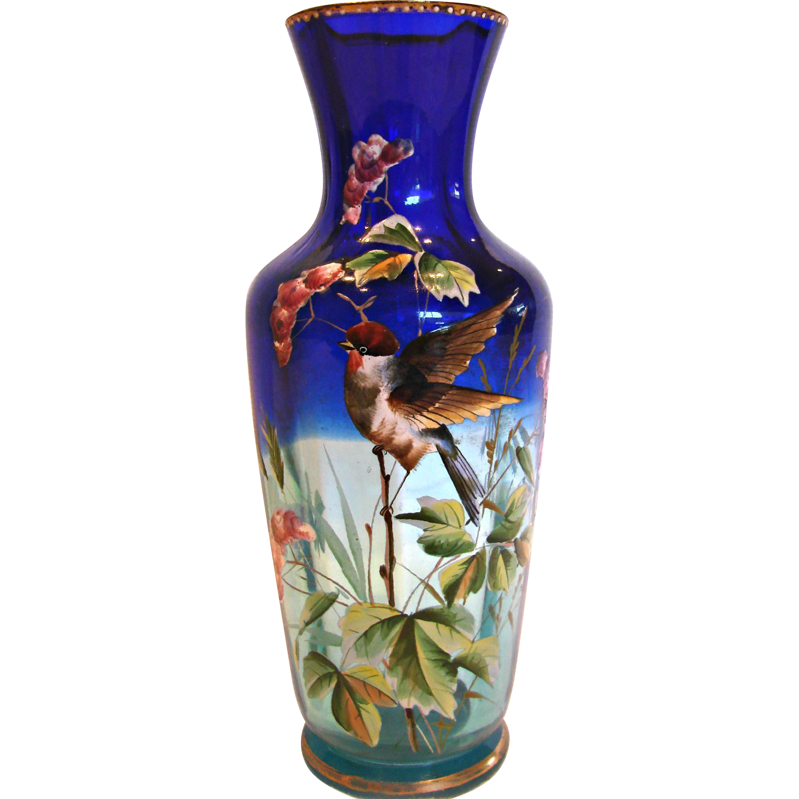 Bohemian Shaded Blue Clear Art Glass Vase Enameled Bird c 1880