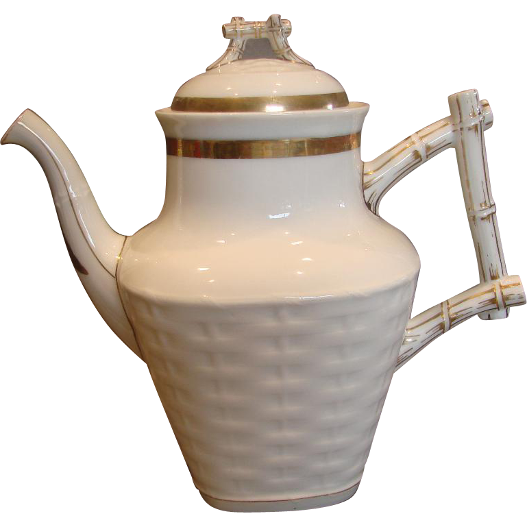 French Limoges Large Coffee Tea Pot Basket Weave w Twig Handle Finial White & Gold c 1875