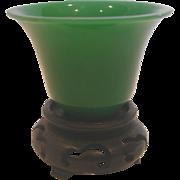 Chinese Jade Green Peking Art Glass Miniature Signed c 1890