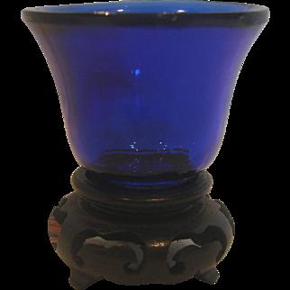 Chinese Cobalt Blue Peking Art Glass Miniature c 1890 - 1910