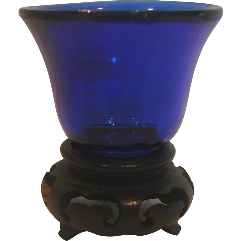 Chinese Cobalt Blue Peking Art Glass Miniature c 1890 - 1910