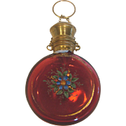 French Pale Ruby or Cranberry Round Chatelaine Perfume Bottle Enameled Flowers c 1880