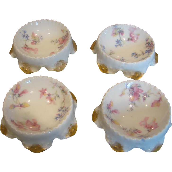French Haviland Limoges Set of 4 Open Salts Colorful Flowers c 1894 - 1930