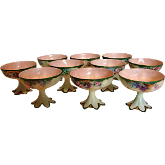 French Haviland Limoges Set 10 Hand Painted Pedestal Punch Cups Pink Roses Grapes c 1893 - 1930