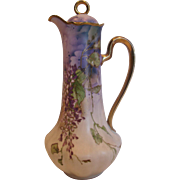 German Bohemian Ernst Wahliss Tall Chocolate Pot Hand Painted Purple Flowers c 1900