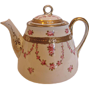 Japanese Nippon Demitasse Teapot Hand Painted Small Pink Roses c 1910