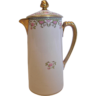 French Limoges Small Chocolate Pot or Syrup Jug Pink Roses Flower Finial c 1900