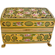 Italian Murano Green Opaline Art Glass Casket Box Brass Footed Hand Enameled Flowers Gold Gilding Just Gorgeous c 1950
