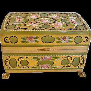 Italian Murano Green Opaline Art Glass Casket Box Brass Footed Hand Enameled Flowers Gold Gilding Just Gorgeous c 1950