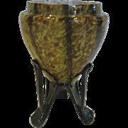 Bohemian Czech Art Glass Vase Green Brown Black Over Cased White Applied Rocket Ship Feet c 1930