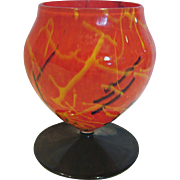 Bohemian Czech Art Glass Vase Orange Spatter w Black Yellow Lines Round Foot c 1930