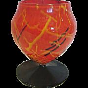 Bohemian Czech Art Glass Vase Orange Spatter w Black Yellow Lines Round Foot c 1930